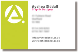 Ayshea Siddall, Personal Branding - Business Card Front