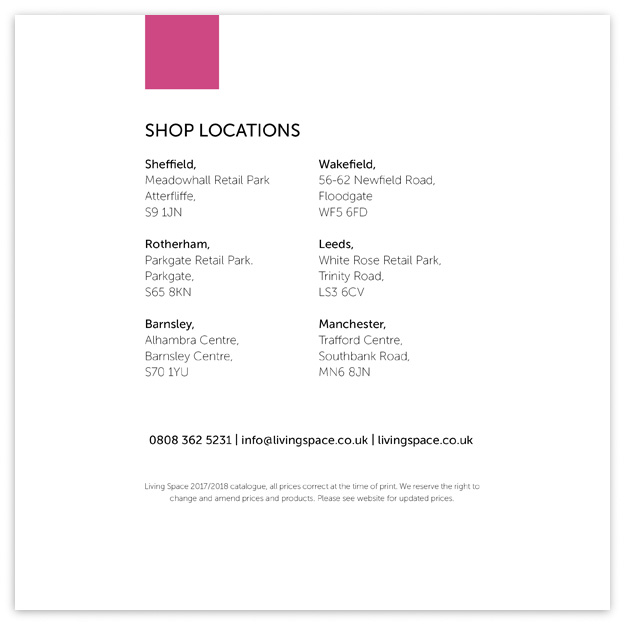Living Space Back Cover - Contact Details and Store Locations
